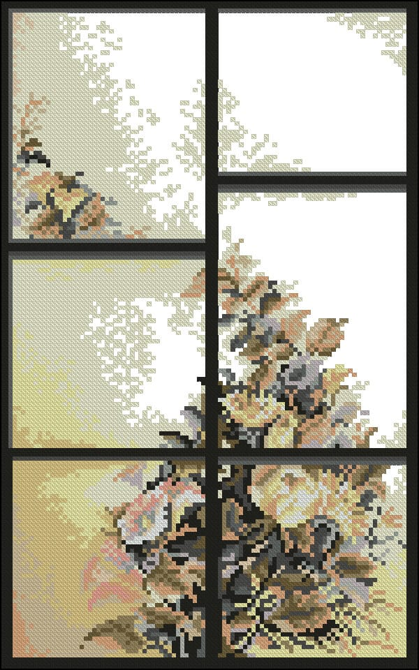 "Free Floral  cross-stitch pattern ""Window summer"""