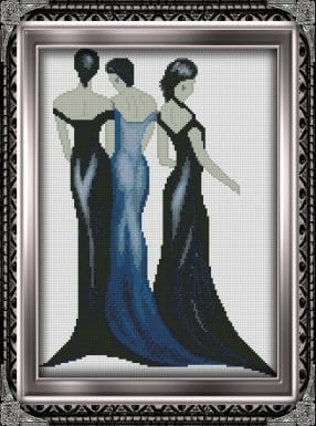 "Free cross-stitch pattern ""Three ladies"""