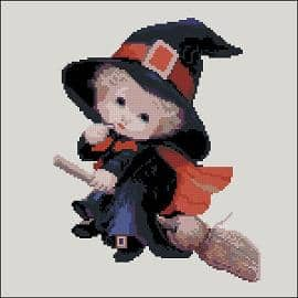 kids cross-stittch design Little witch