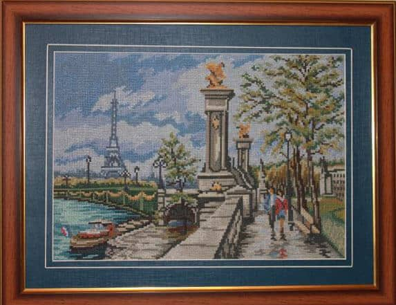 "Free cross-stitch pattern ""Streets of Paris. Bridge."""