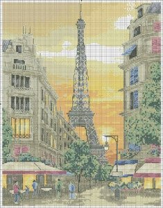 "Free cross-stitch pattern ""Eiffel Tower"""