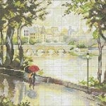 "Free cross-stitch patterns ""Streets of Paris. Rain"""