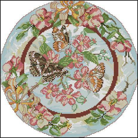 """Free Cross-sttitch pattern """"Plate with Butterfly"""""""