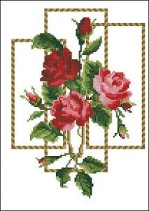 Free cross-stitch pattern roses