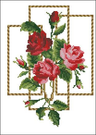 """Free cross-stitch pattern """"Red Roses"""""""