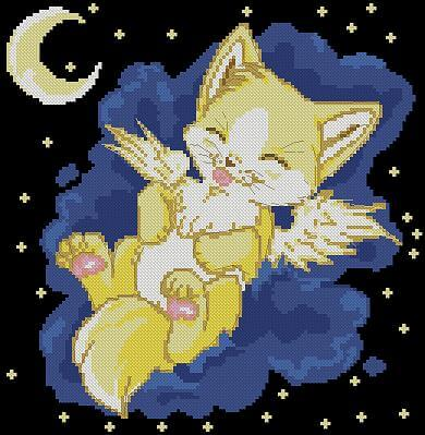 "Cross-stitch pattern for kids ""Kitten-Angel"""