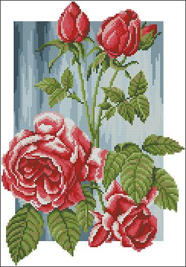 "Floral Cross-stitch pattern ""Queen of flowers"""