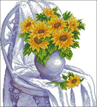 "Free cross-stitch patterns "" Bouquet of sunflowers"""