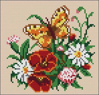 """Free cross-stitch pattern for pillow """"Flowers with butterfly"""""""