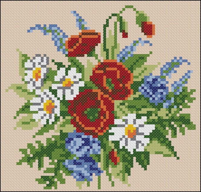 """Free cross-stitch pattern for pillow """"Wildflowers"""" 
