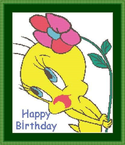 "Cross-stitch pattern for kids ""Happy birthday"""