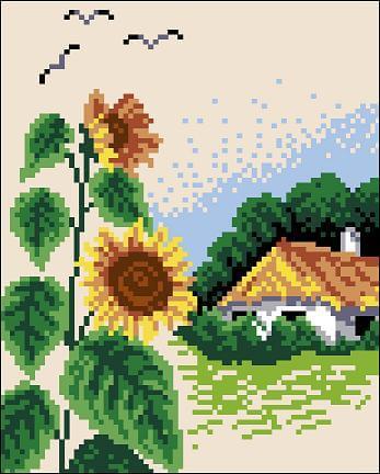 """Free cross-stitch pattern """"Village"""""""