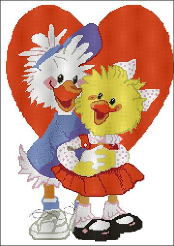 "Cross-stitch pattern  for kids ""Duck and chicken"""