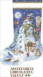 cross stitch pattern christmas stocking snowman