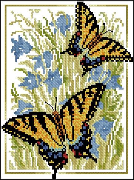 "Free cross-stitch pattern ""Butterflies Mahaon"""