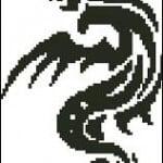 "Free cross-stitch design ""Black dragon"""
