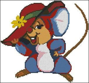 "Free cross-stitch pattern for kids ""Little Mouse"""