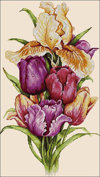 """Free cross-stitch pattern """"Tulips"""""""