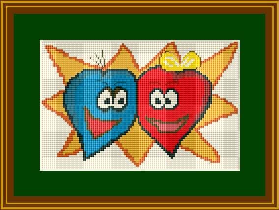 """Cross-stitch chart """"Hearts"""" free"""