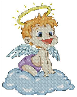 "Cross-stitch pattern  for kids free ""Angel"""