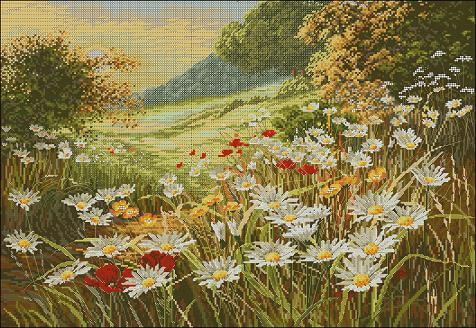 "Landscape cross-stitch design ""Sunset. Chamomile field """