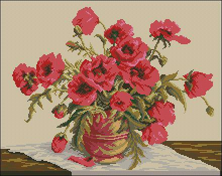 """Free Floral cross-stitch design """"Symphony of Poppies"""""""