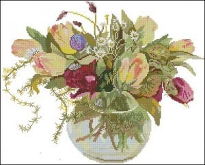 "Free cross-stitch patterns""Tulips in vase"""