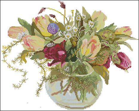"Free cross-stitch design ""Tulips in vase"""
