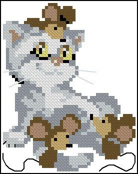 "Free cross-stitch patterns for beginners ""Cat and mouse"""