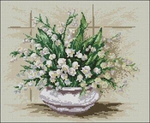 "Free cross-stitch design ""Lilies of the valley"""