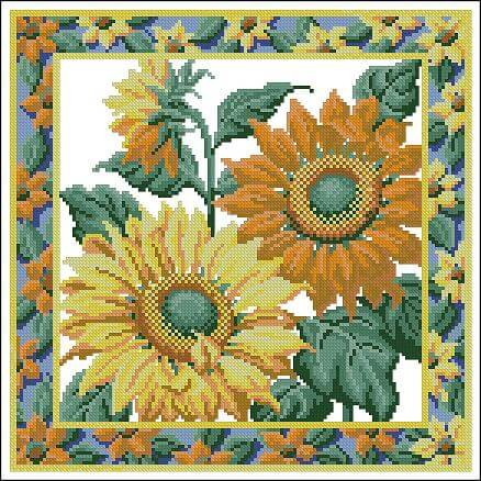 "Free cross-stitch design  ""Pillow with sunflowers"""
