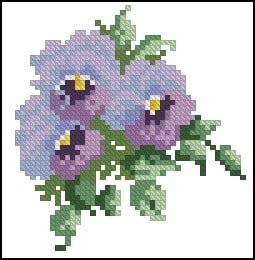 "Cross-stitch chart ""Violets """