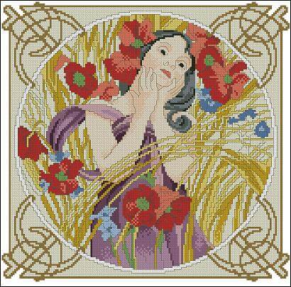 "Free cross-stitch pattern "" August by Alphonse Mucha"""