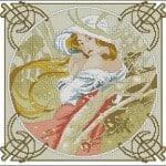 """Cross-stitch pattern """"November by Alphonse Mucha"""""""