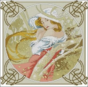 "Cross-stitch pattern ""November by Alphonse Mucha"""