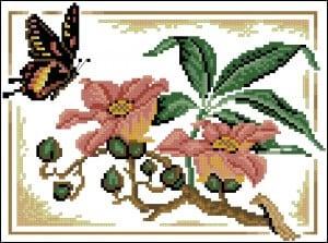 "Free cross stitching pattern ""Flight of Butterflies"""