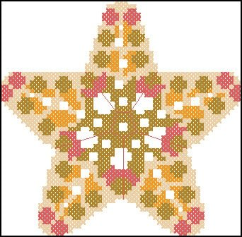 "Free cross stitching pattern ""Star Biscornu"""