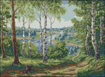 "Free Cross-stitch pattern ""Landscape Forest River"""
