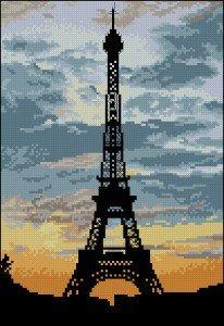 "cross-stitch patternn ""La Tour Eiffel"""