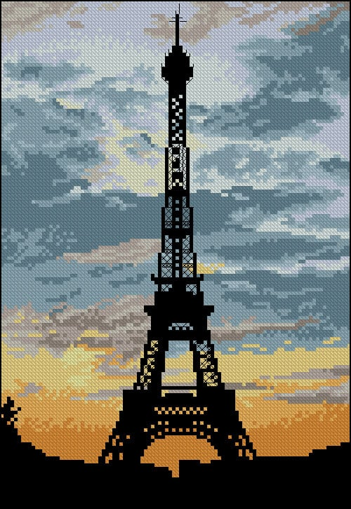 "Free cross-stitch pattern ""La Tour Eiffel"""