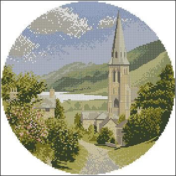 "Cross-stitch design ""Lakeside Village"""