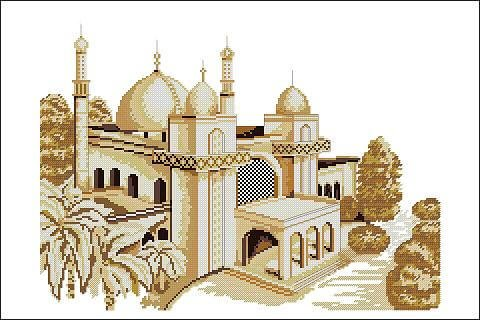 "Free Cross-stitch pattern ""Mosque"""