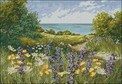 "Cross-stitch design "" Clifftop Footpath by Mary Dipnall """