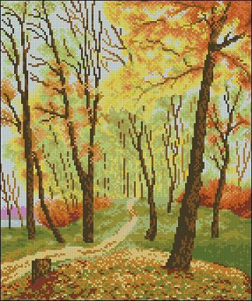 "Free Cross-stitch pattern ""Autumn park"""
