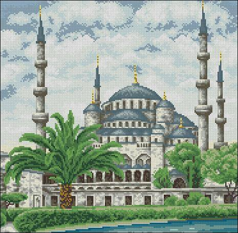 "Free Cross-stitch pattern ""The Blue Mosque"""