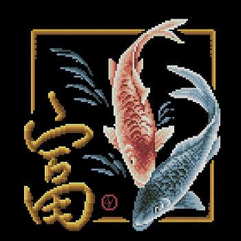 "Free Cross-stitch pattern ""Magic fishes"""