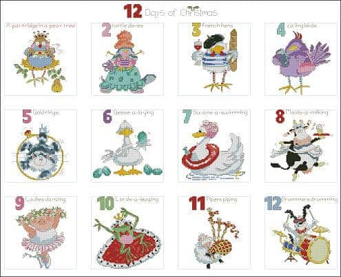 "Cross-stitch design ""12 days of Christmas"""