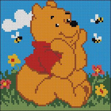 "Free cross-stitch design for pillow  ""Winnie the Pooh"""