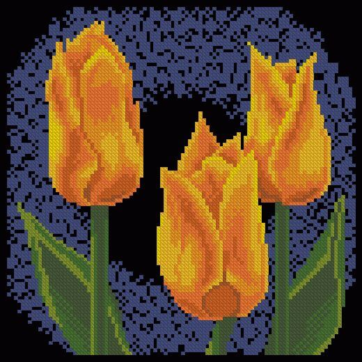 "Cross-stitch pattern ""Yellow Tulips"""