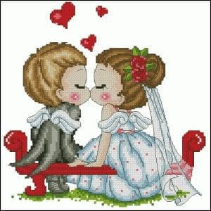 cross-stitch pattern free wedding